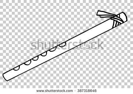 Indian flute clipart black and white.