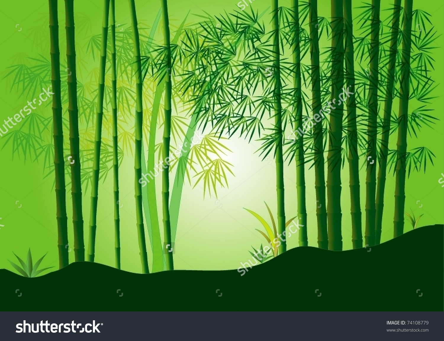 Beautiful Bamboo Forest Stock Vector 74108779.