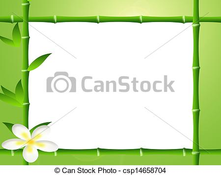 Clipart of frame bamboo and ladybug csp14658718.