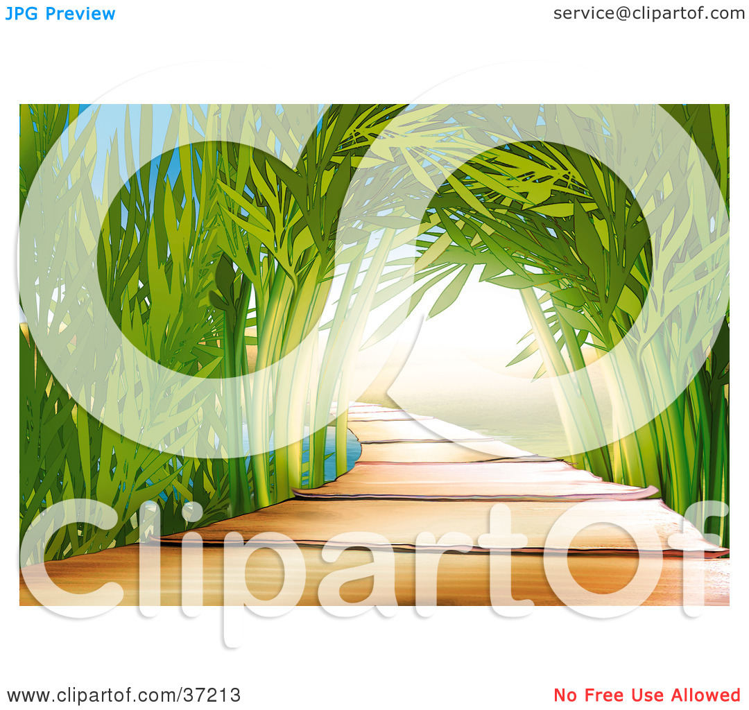 Clipart Illustration of a Wooden Path Leading Through An Arch Of.
