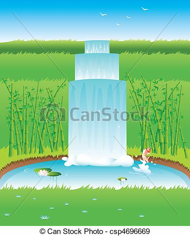 EPS Vectors of Garden with pond fish and bamboo csp4696669.