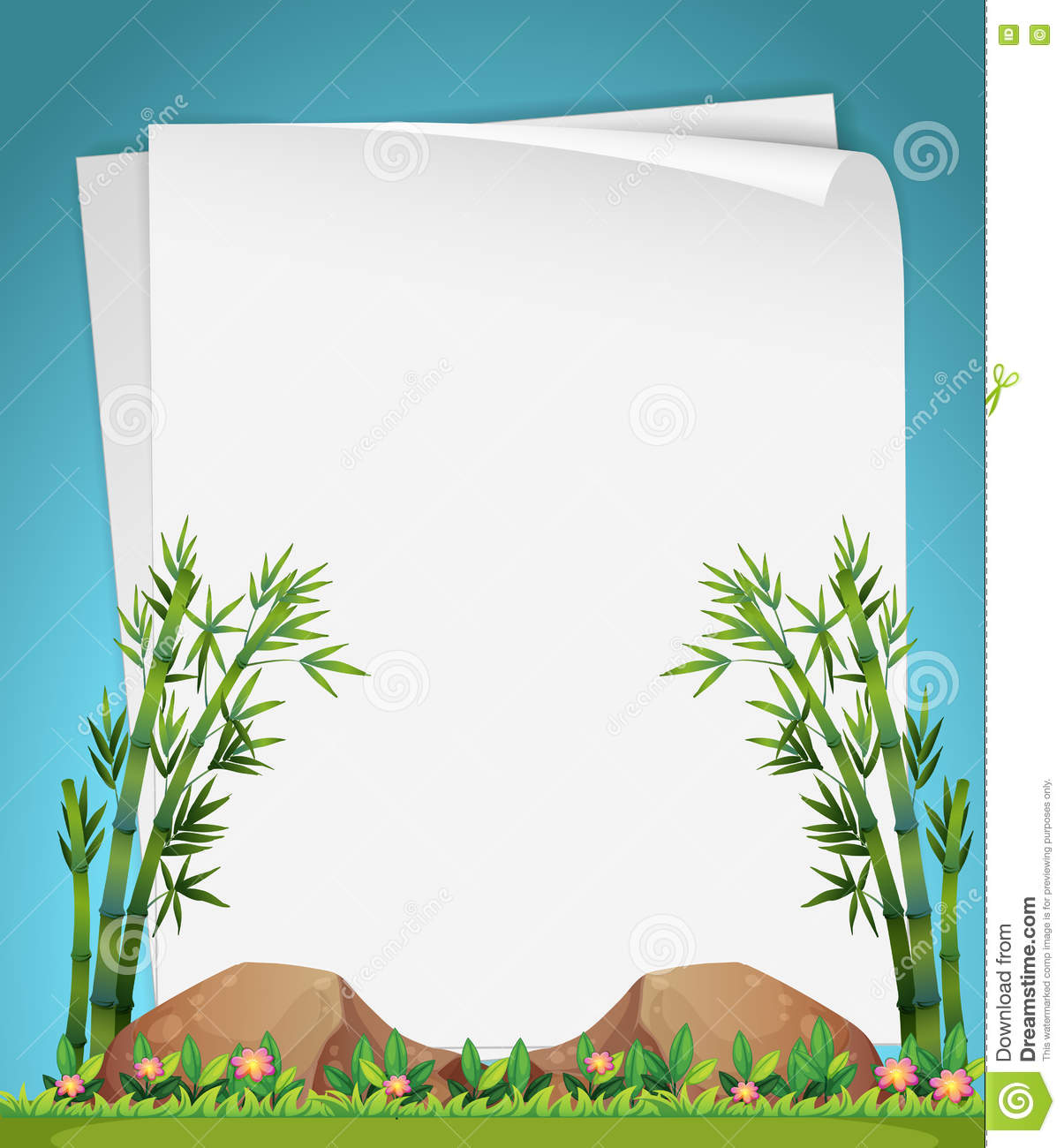 Paper Design With Bamboo In Garden Stock Vector.