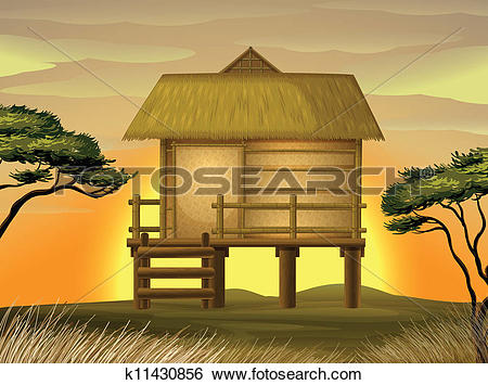 Clip Art of Bamboo hut k11430856.