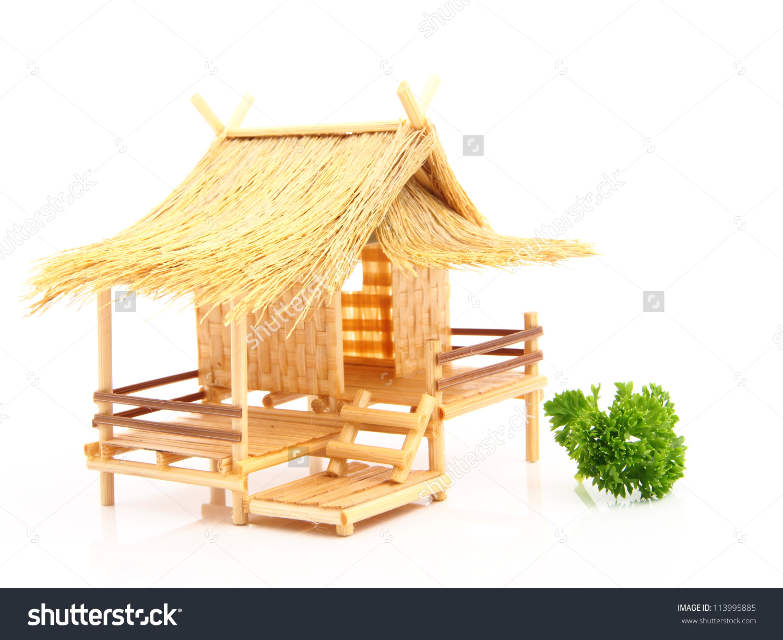 Bamboo hut clipart.