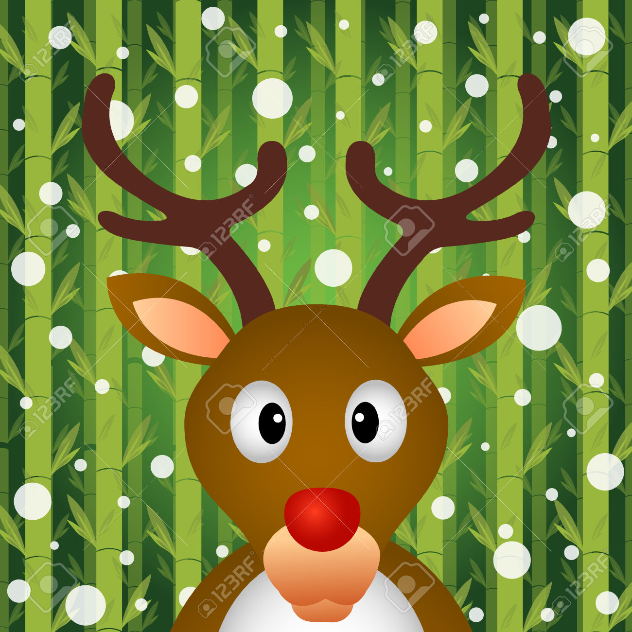 Reindeer And Snow On Bamboo Background Royalty Free Cliparts.