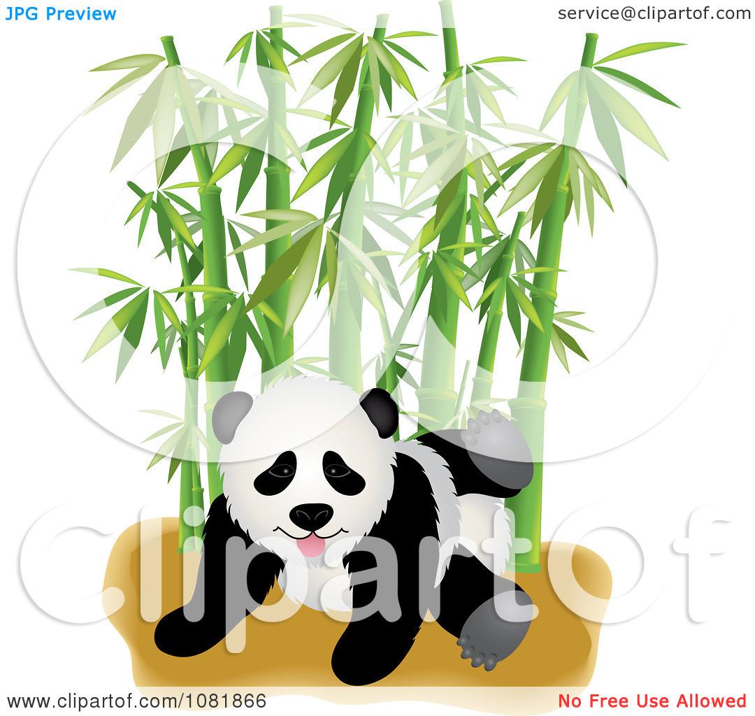Clipart Cute Playful Panda With Bamboo.
