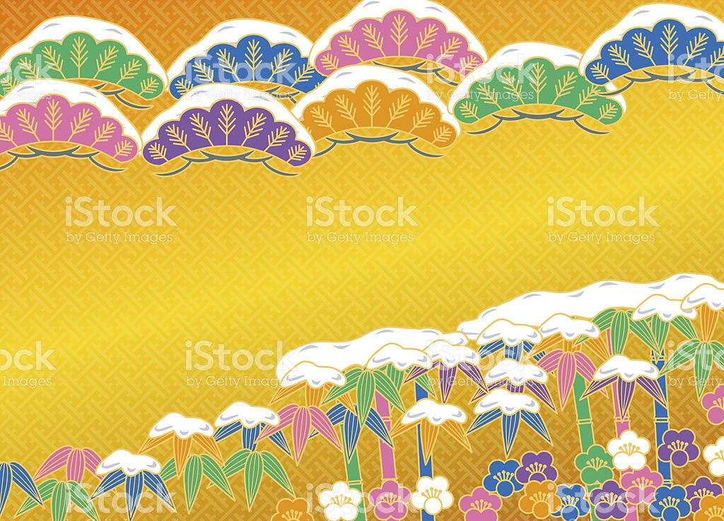 Snow And Plum And Bamboo And Pine stock vector art 505552869.