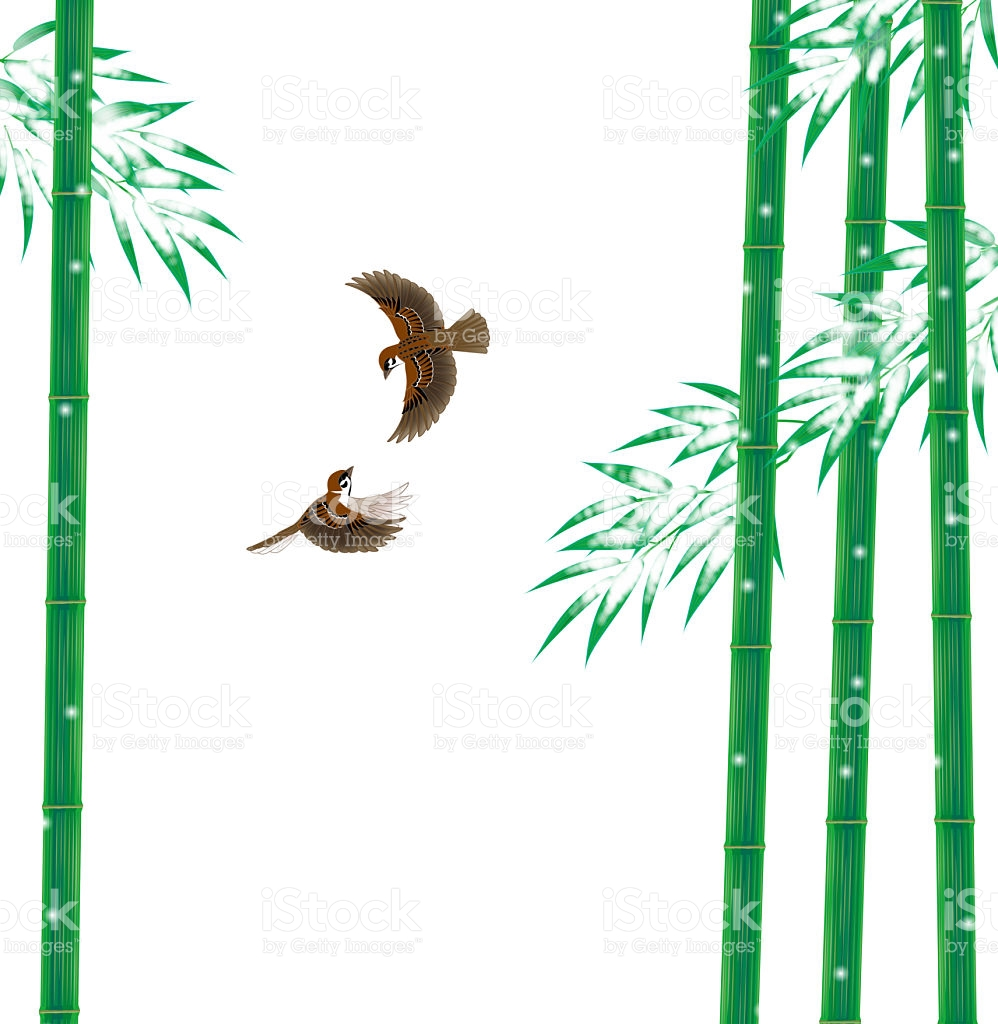 Sparrow And Bamboo Landscape Of Winter Japan stock vector art.
