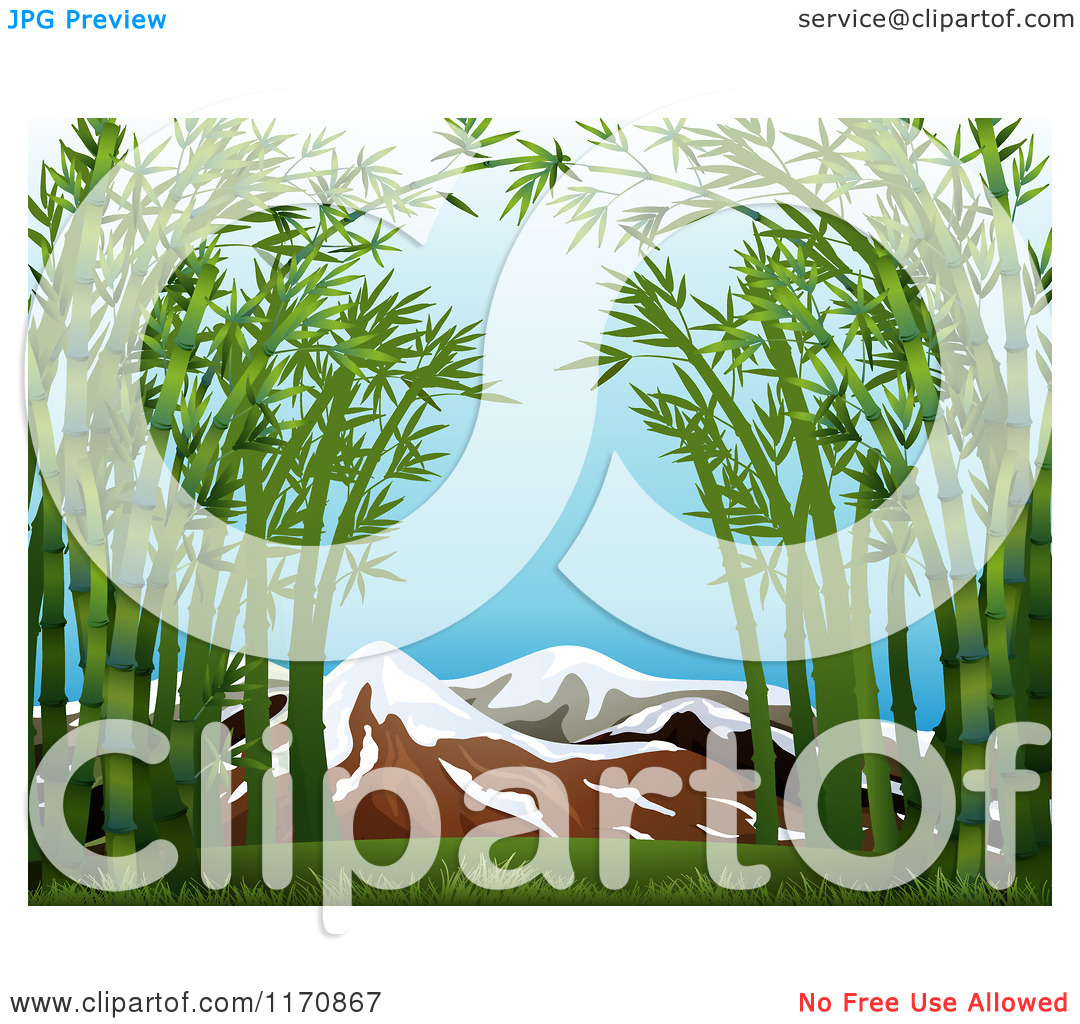 Cartoon of Bamboo Framing Snow Capped Mountains.