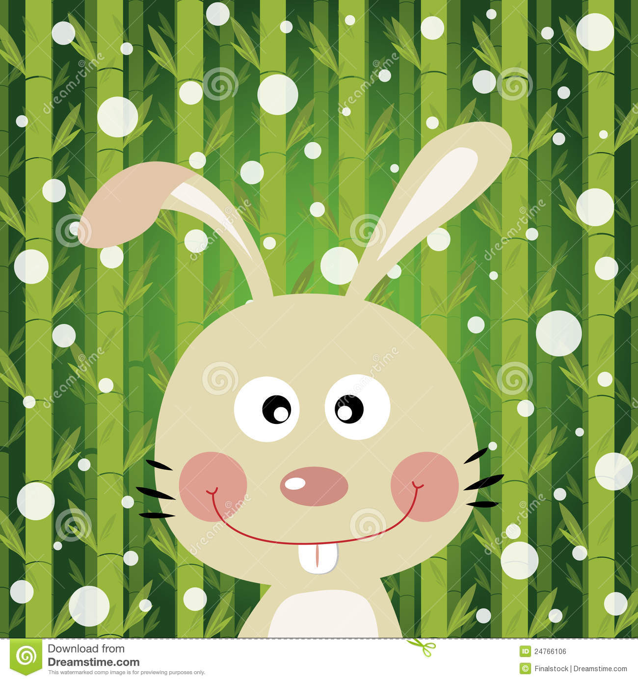 Rabbit And Snow On Bamboo Background Royalty Free Stock Image.