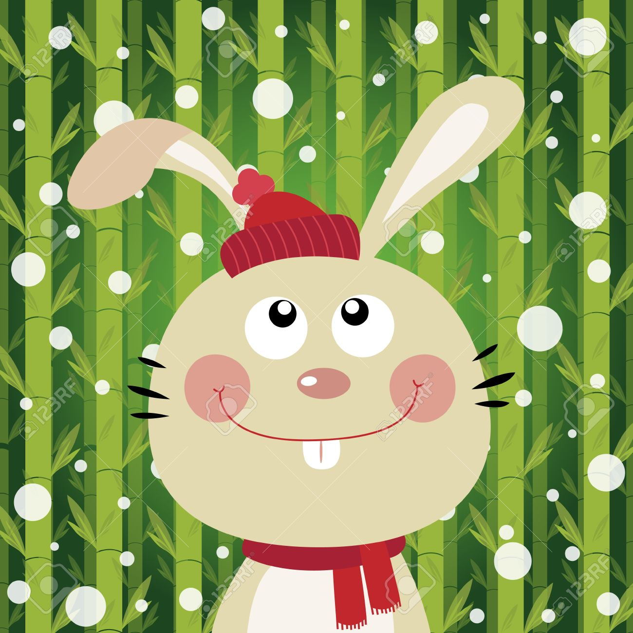 Rabbit And Snow On Bamboo Background Royalty Free Cliparts.