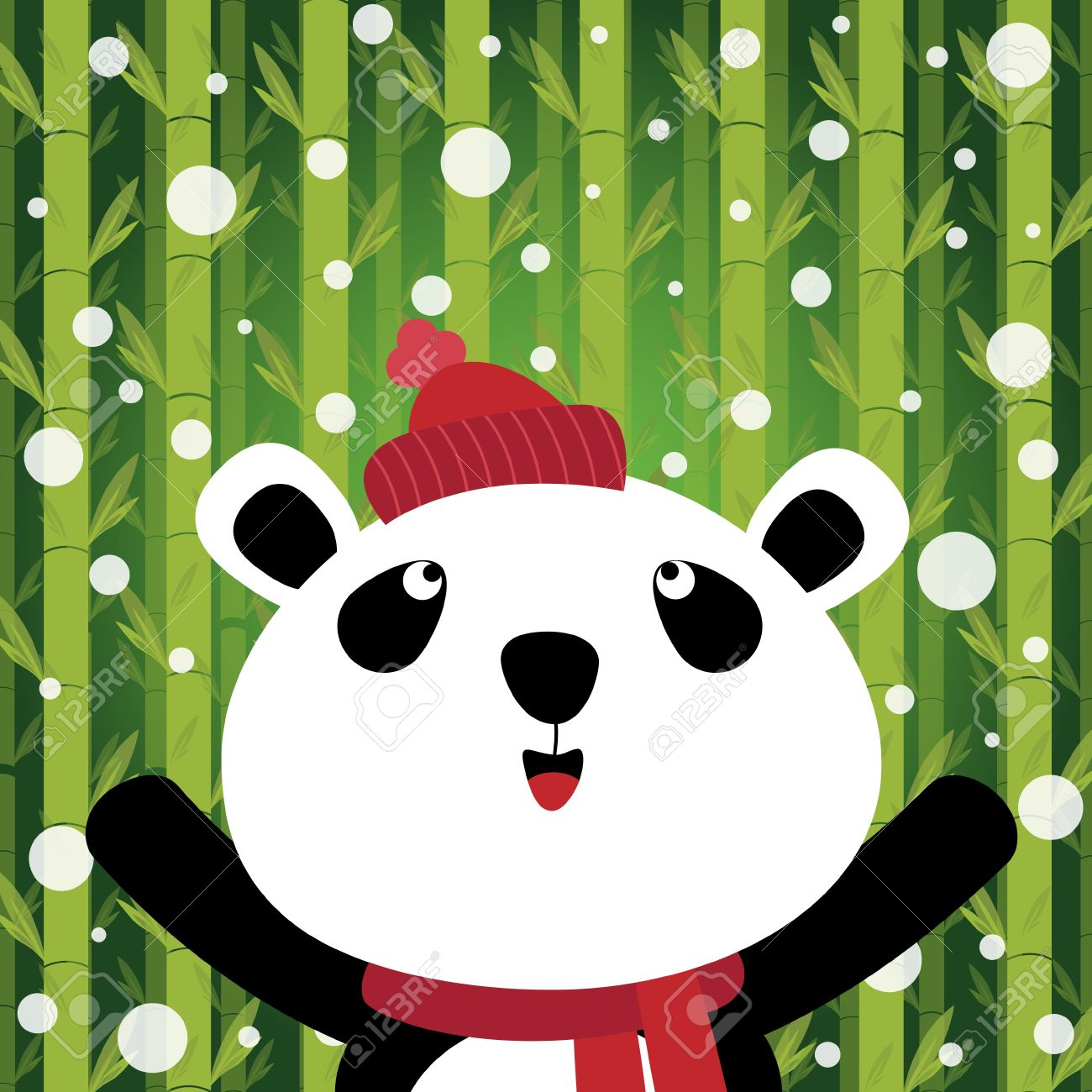Panda And Snow On Bamboo Background Royalty Free Cliparts, Vectors.