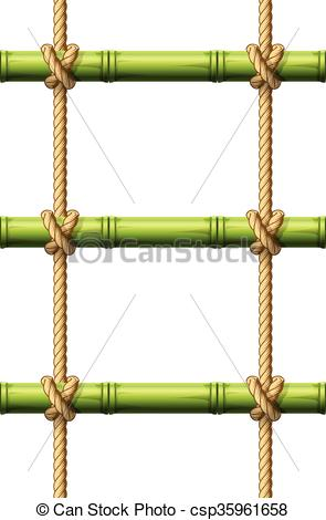 Clipart Vector of Bamboo rope ladder.