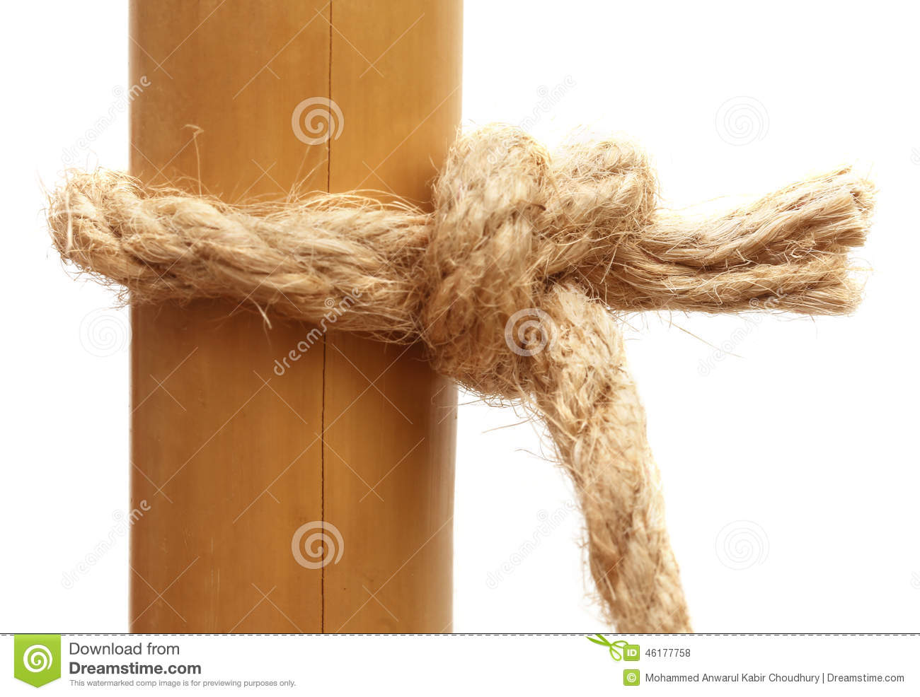Rope Knot On A Bamboo Stock Photo.