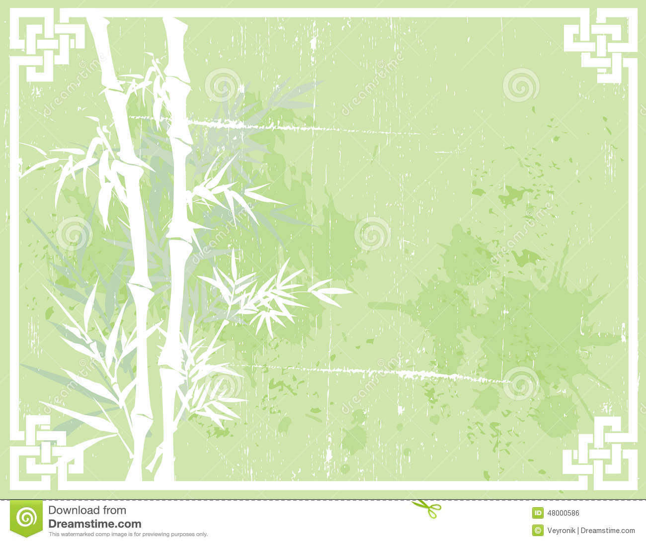 Green Asian Grunge Bamboo Background Stock Vector.