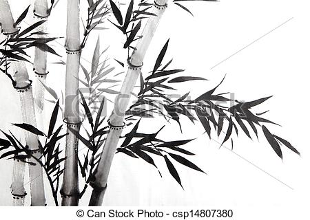 Pictures of bamboo leaf , traditional chinese calligraphy art.