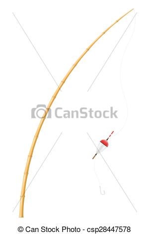 Vectors Illustration of bamboo fishing rod vector illustration.
