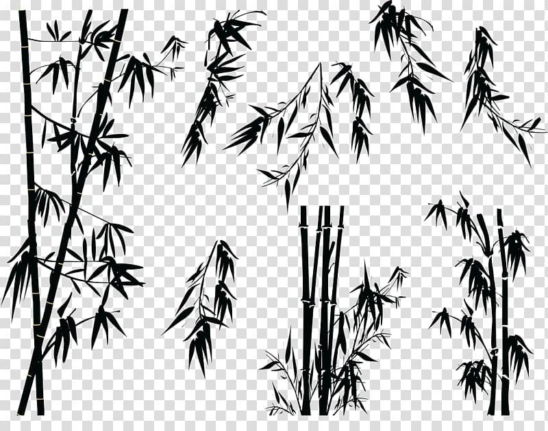 Black bamboo illustration, Bamboo Silhouette Tree.