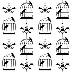 Whimsical Bird Cage Clip Art.