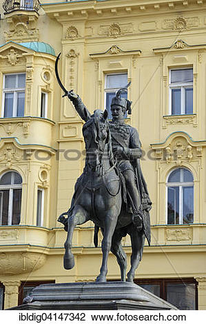 Stock Photo of Equestrian statue of Ban Josip Jelacic in Ban.