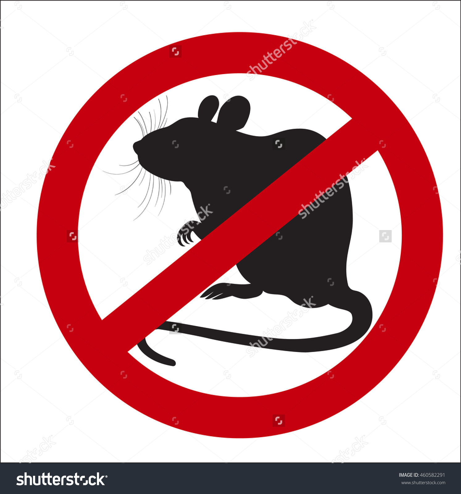 Vector Image Sign Ban Rats Stock Vector 460582291.