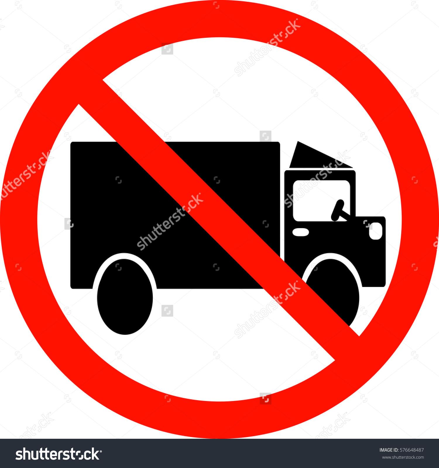 Vector Sign Ban Entry Trucks Stock Vector 576648487.