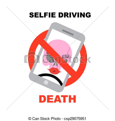 Clipart Vector of Sign ban on selfie. Strikethrough phone with.