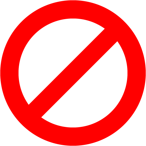 Red ban icon.