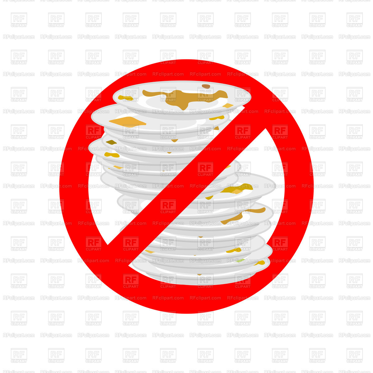 Do not use dirty dish. Prohibiting red ban sign. Stock Vector Image.