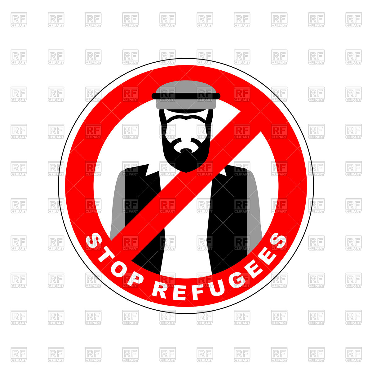 Ban immigrants, stop sign with refugee Stock Vector Image.