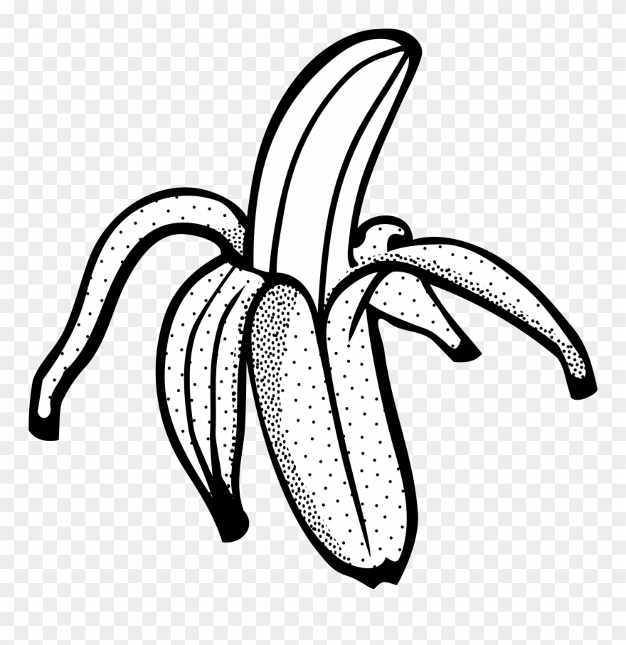 Banana Black And White Clipart.
