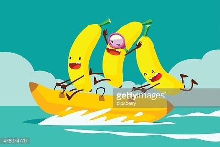 bananas on banana boat Clipart Image.