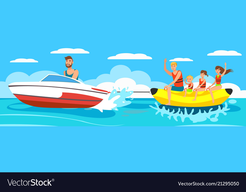Banana boat with group.