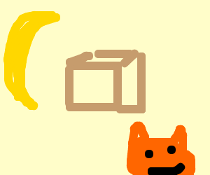 Banana, Box, Cat (drawing by Latatapiola).