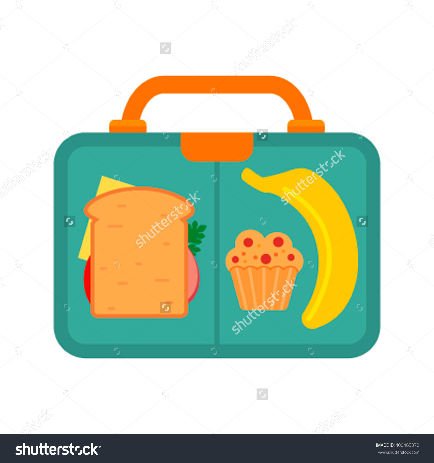 Lunch Box School Lunch Banana Sandwich Stock Vector 400465372.