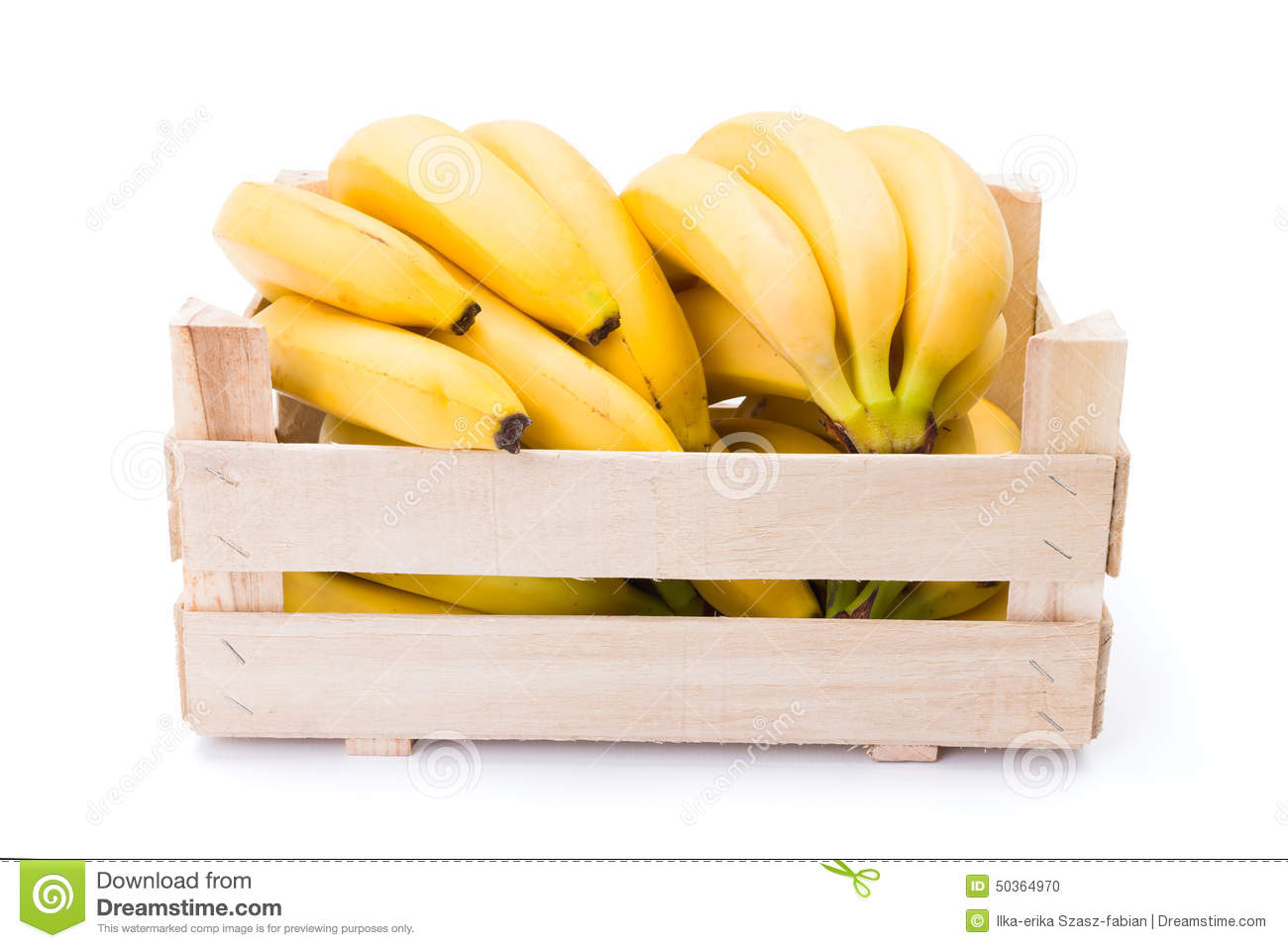 Bananas In Wooden Crate Stock Photo.