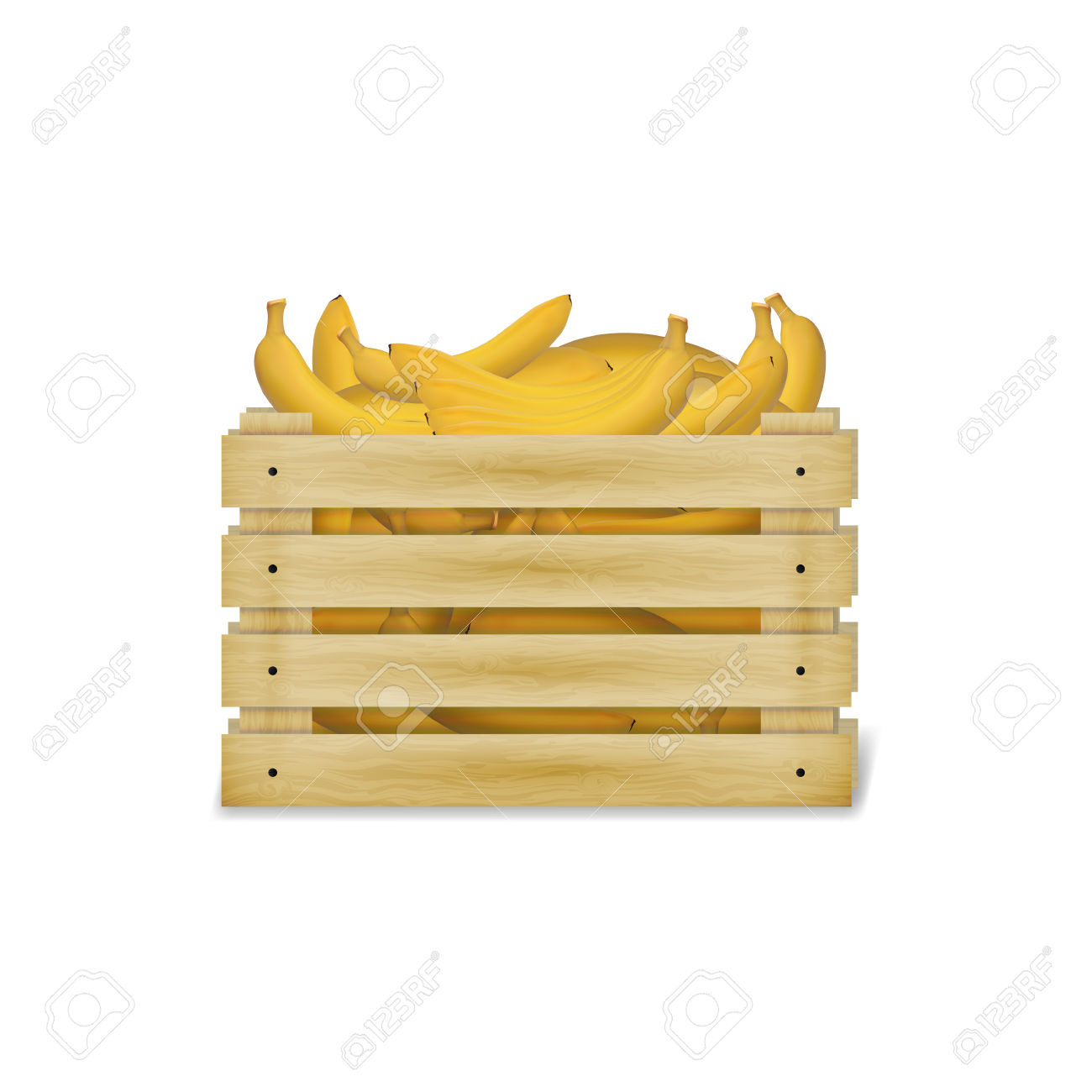 Illustration Of Wooden Box With Bananas. Wooden Food Crate.