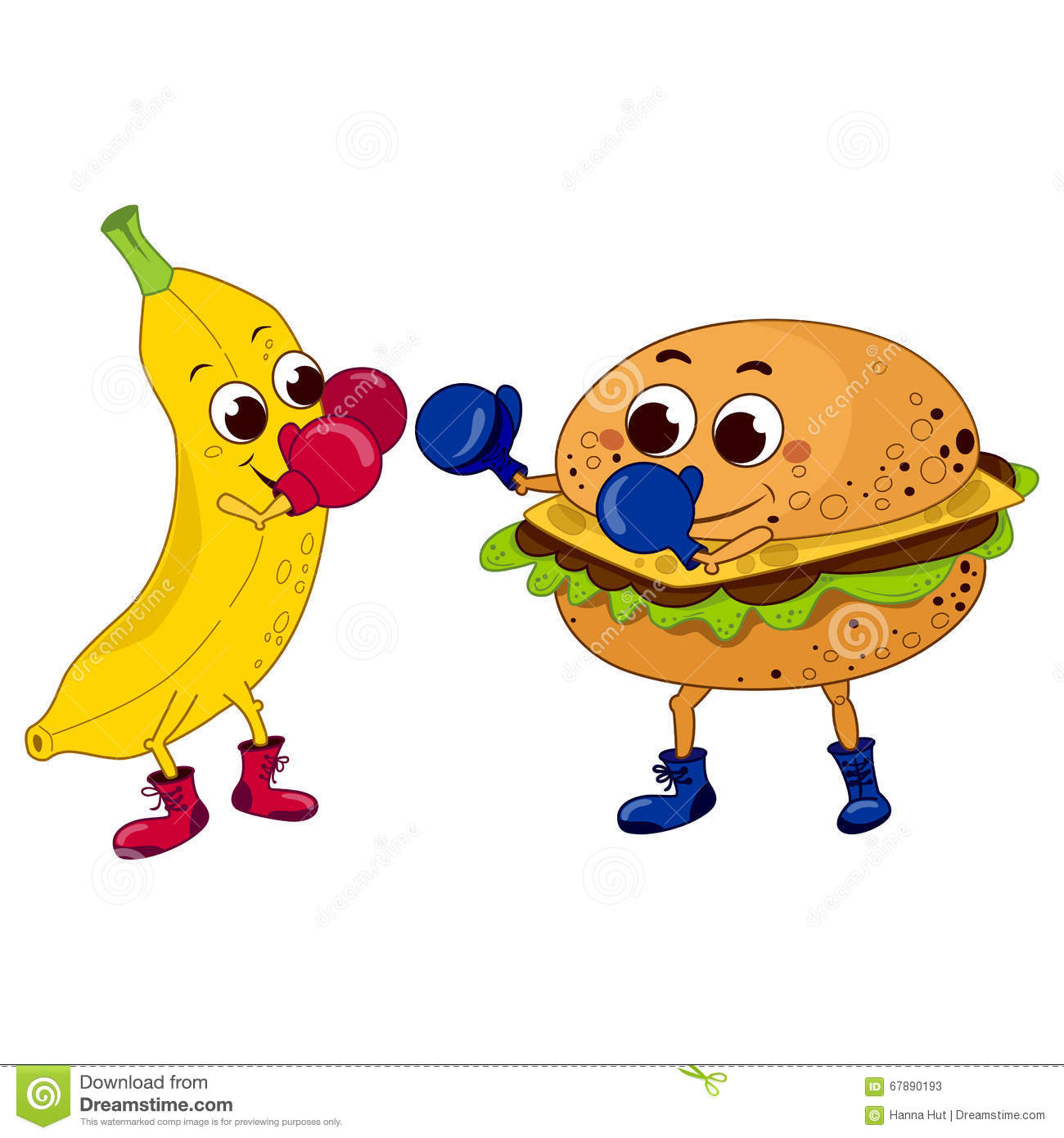 Promotion Of Healthy Food, Banana Box With A Hamburger For.