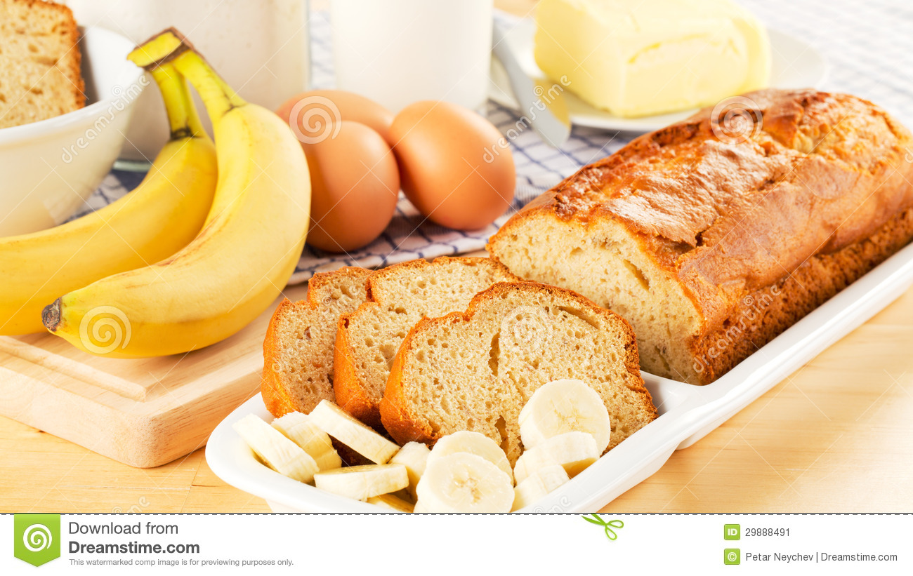 Freshly Baked Banana Bread And Ingredients Stock Image.