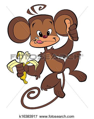 Stock Illustration of Cartoon happy monkey eating banana k16383917.