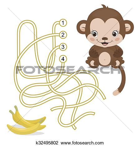 Clipart of Maze Game for Preschool Children with Monkey and Banana.