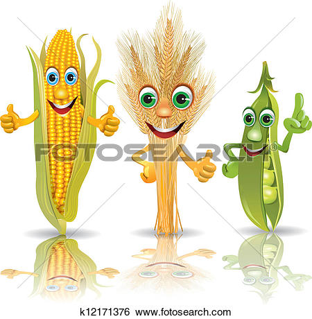 Clip Art of Funny vegetables, corn, ears of corn, peas k12171376.
