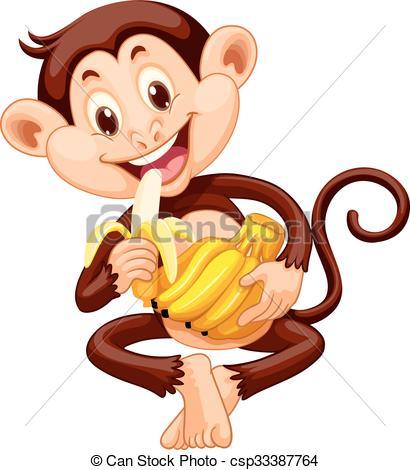 Clip Art Vector of Little monkey eating banana illustration.