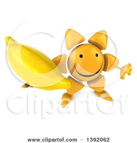 Clipart of a 3d Sun Character Holding a Banana, on a White.