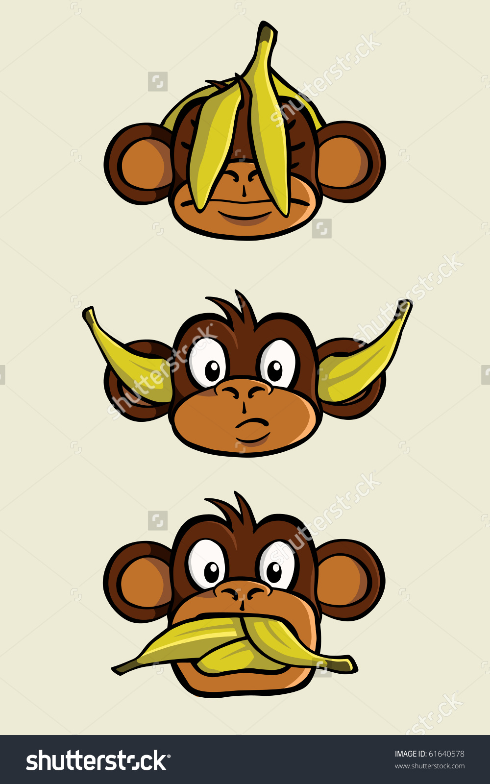 Three Wise Monkeys Depicting See No Stock Vector 61640578.