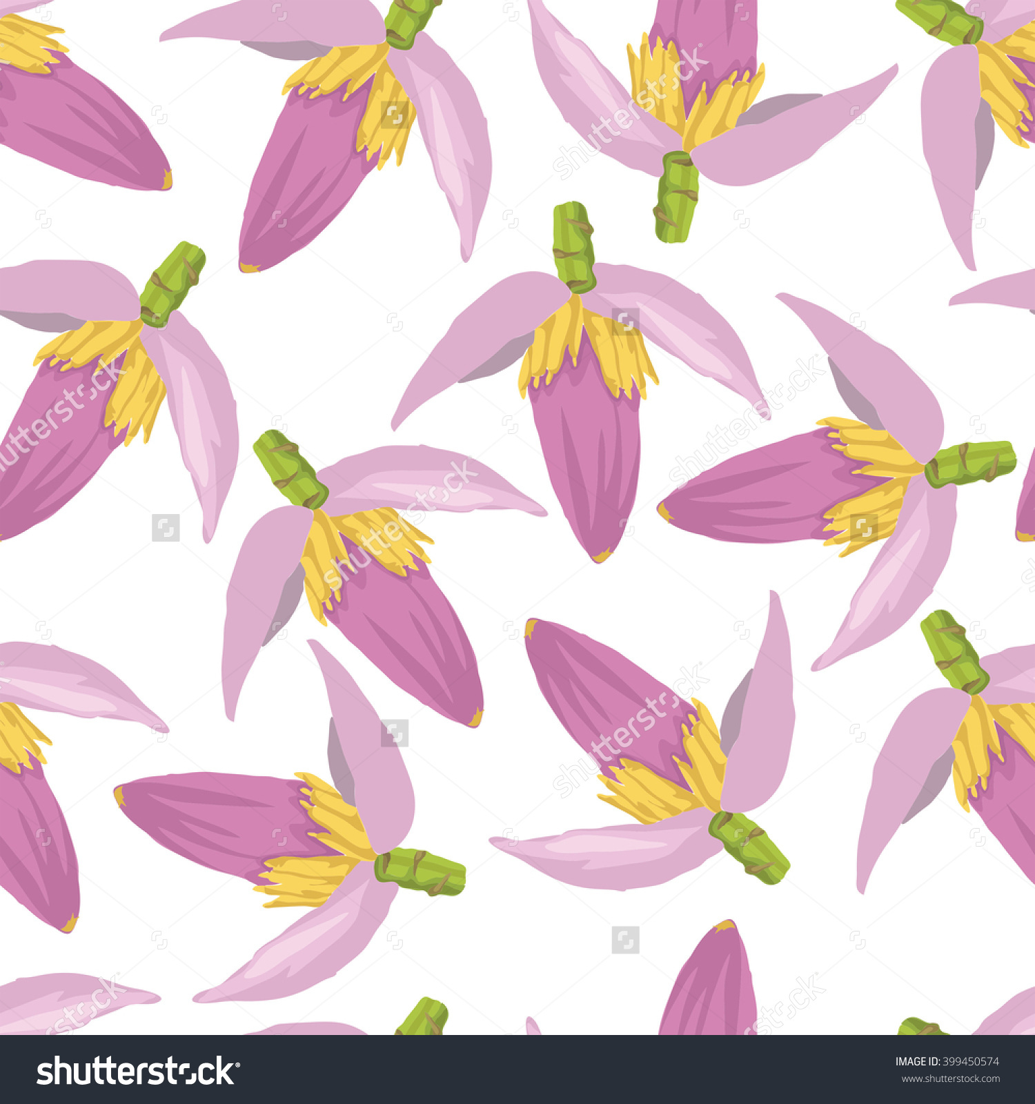Pink Banana Flower Pattern Stock Vector Illustration 399450574.