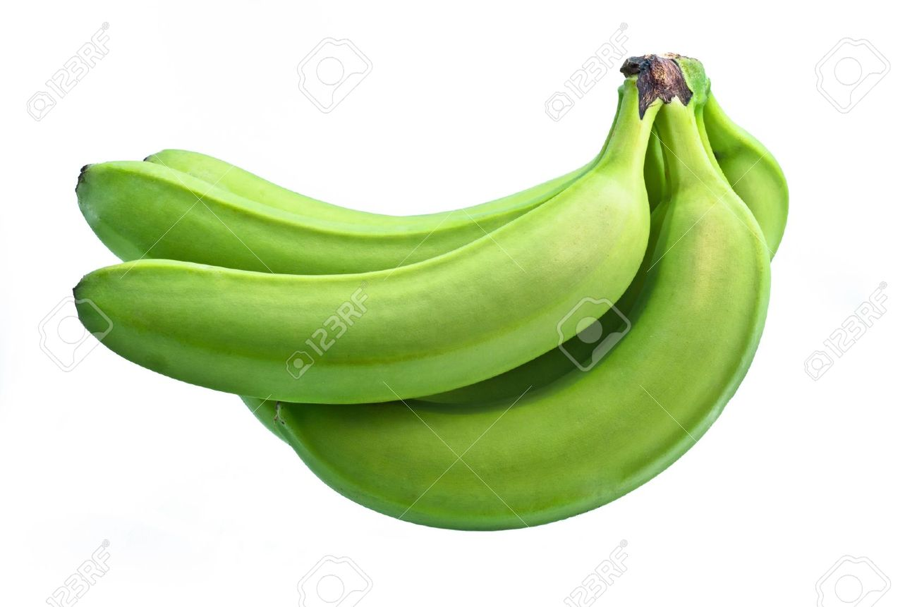 Bunch Of Green Bananas On White Background Stock Photo, Picture.