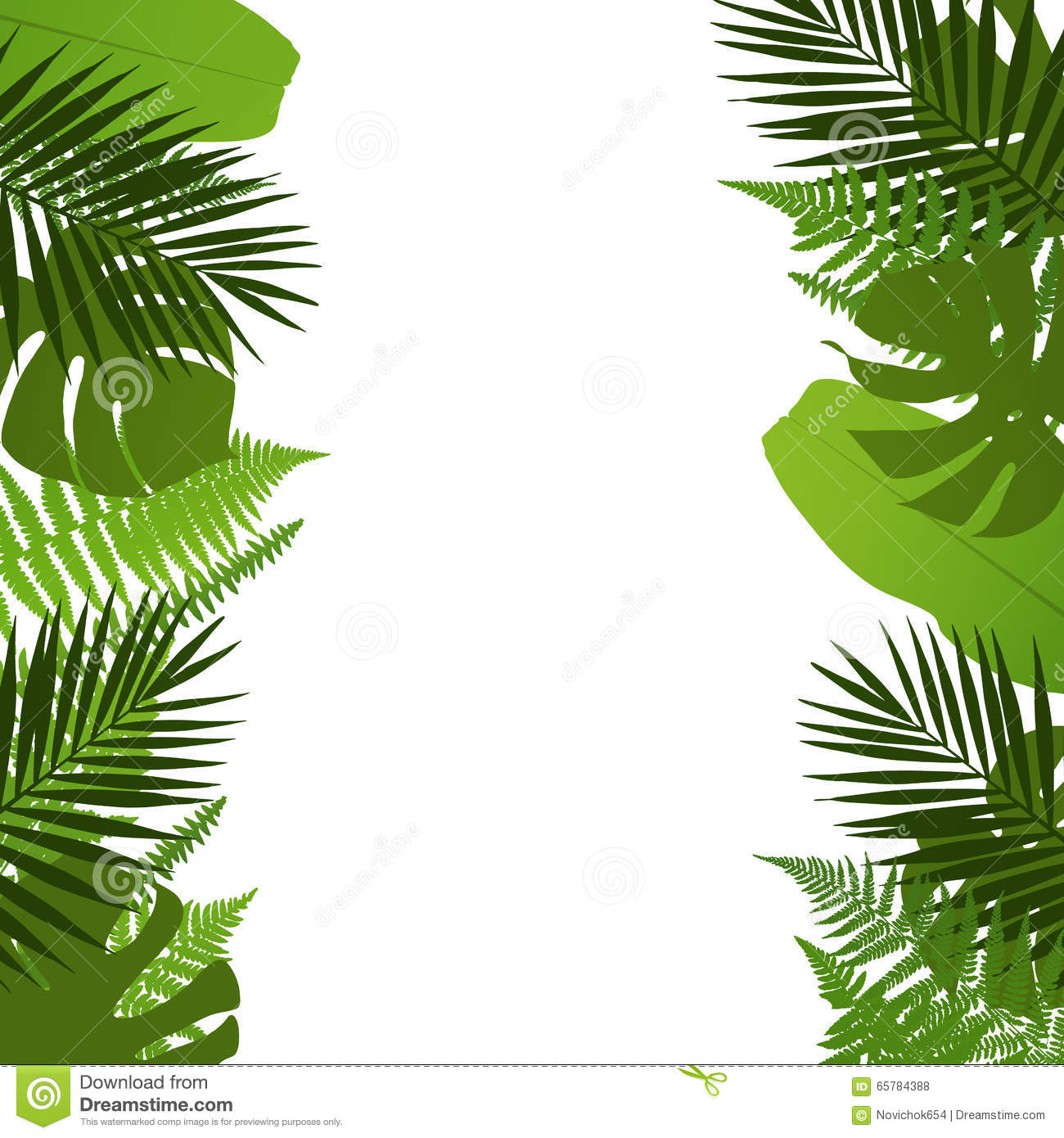 Tropical Leaves Background With Palm,fern,monstera And Banana.