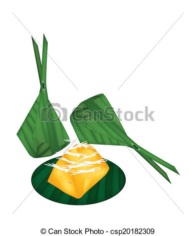 Vector Clipart of Toddy Palm Cake Wrap with Banana Leaves.