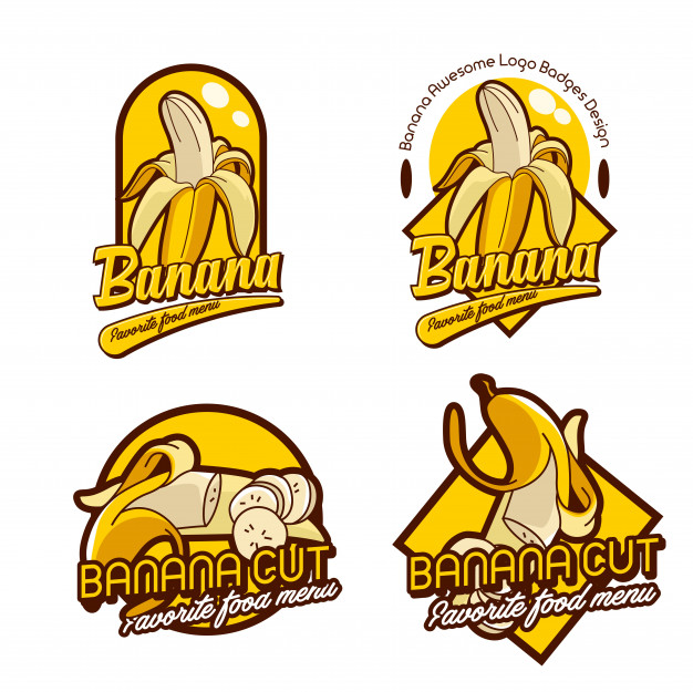 A set banana logo badge Vector.